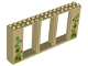 Part No: 35103pb01  Name: Door Frame 2 x 16 x 6 with 3 Openings and 2 Studs on Either Side on Front with Vines and Flowers Pattern
