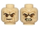 Part No: 3626cpb1395  Name: Minifigure, Head Dual Sided Wrinkles, Sunken Yellow Eyes, Black Eyebrows, Stern / Bared Teeth Angry Pattern (SW Palpatine) - Hollow Stud