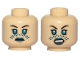 Part No: 3626cpb2099  Name: Minifigure, Head Dual Sided Female, Dark Blue Lips, Blue Tattoo, Neutral / Angry Pattern (SW Barriss Offee) - Hollow Stud