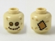 Part No: 3626cpb2289  Name: Minifigure, Head with Dark Tan Hashmarks, Bright Light Orange and Medium Dark Flesh Button Eyes, Stitched Mouth (Scarecrow) Pattern - Hollow Stud