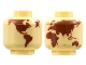 Part No: 3626cpb2842  Name: Minifigure, Head without Face Reddish Brown Globe World Map Pattern - Hollow Stud