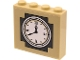 Part No: 49311pb12  Name: Brick 1 x 4 x 3 with White Town Hall Clock Face and Roman Numerals on Dark Bluish Gray and Tan Background Pattern (Sticker) - Set 60271