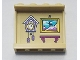 Part No: 60581pb156  Name: Panel 1 x 4 x 3 with Side Supports - Hollow Studs with Lavender Cuckoo Clock, Painting and Magenta Shelf Pattern (Sticker) - Set 41323