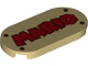 Part No: 66857pb002  Name: Tile, Round 2 x 4 Oval with Red 'MARIO' and 4 Rivets Pattern