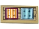 Part No: 87079pb0295  Name: Tile 2 x 4 with 2 Striped Cushions on Wooden Planks Pattern (Sticker) - Set 41122