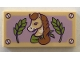 Part No: 87079pb0544  Name: Tile 2 x 4 with Horse with Braided Mane, Green Leaves, and Lavender Background Pattern