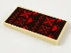 Part No: 87079pb0741  Name: Tile 2 x 4 with Dark Brown Blanket with Red and Dark Red Suns and Flowers Pattern (Sticker) - Set 41149