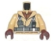 Part No: 973pb0442c01  Name: Torso SW Naboo Fighter Jacket with Reddish Brown Undershirt and Dark Bluish Gray Harness Pattern / Tan Arms / Reddish Brown Hands