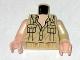 Part No: 973pb0592c01  Name: Torso Indiana Jones Open Collar Shirt with Pockets Pattern / Tan Arm Left / Light Flesh Arm Right / Light Flesh Hands