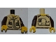 Part No: 973pb0991c01  Name: Torso Dino Jacket with Strap Collar, Zipper, Phone and GPS Pattern / Dark Brown Arms / Yellow Hands
