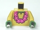 Part No: 973pb1040c01  Name: Torso SpongeBob with Sand Green Neck, Shirt Collar and Pink Lei Pattern / Tan Arms / Sand Green Hands