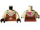 Part No: 973pb4248c01  Name: Torso Pixelated Light Nougat Neck, Reddish Brown Shirt, Dark Brown and Gold Belt Pattern / Tan Arms / Dark Brown Hands