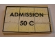 Part No: BA095pb02  Name: Stickered Assembly 6 x 4 x 2/3 with 'ADMISSION 50 C' Pattern (Sticker) - Set 10184 - 1 Plate 4 x 6, 4 Tile 1 x 6