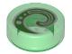 Part No: 98138pb116  Name: Tile, Round 1 x 1 with Bright Green and White Koru Spiral Symbol Pattern
