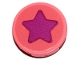 Part No: 14769pb313  Name: Tile, Round 2 x 2 with Bottom Stud Holder with Magenta Star Pattern (Sticker) - Set 70828