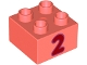 Part No: 3437pb101  Name: Duplo, Brick 2 x 2 with Number 2 Red Pattern