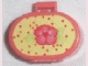 Part No: 6203pb05  Name: Scala Utensil Oval Case with Pink Flower and Red Dots on Light Yellow Pattern (Sticker)