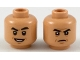 Part No: 3626cpb2158  Name: Minifigure, Head Dual Sided Black Eyebrows, Dark Orange Contours, Smile / Suspicious Frown Pattern - Hollow Stud