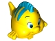 Part No: 11374pb01  Name: Duplo Fish with Large Eyes and Dark Azure Dorsal Fin and Stripes Pattern (Flounder / Fabius)