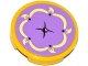 Part No: 14769pb096  Name: Tile, Round 2 x 2 with Bottom Stud Holder with Medium Lavender Cushion with Bright Light Yellow Trim and Tassels Pattern (Sticker) - Set 41140