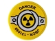 Part No: 14769pb336  Name: Tile, Round 2 x 2 with Bottom Stud Holder with 'DANGER', 'JBCR - 131090', Rivets and Nuclear Symbol Pattern (Sticker) - Set 76078