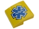 Part No: 15068pb199  Name: Slope, Curved 2 x 2 with Blue EMT Star of Life on Yellow Background Pattern (Sticker) - Set 60203