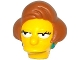 Part No: 19896pb01  Name: Minifigure, Head Modified Simpsons Edna Krabappel with Dark Turquoise Earrings and Medium Dark Flesh Hair Pattern