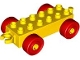 Lot ID: 122901249  Part No: 2312c02  Name: Duplo Car Base 2 x 6 with Red Wheels and Open Hitch End