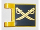 Part No: 2335pb107  Name: Flag 2 x 2 Square with Gold Crossed Cutlasses on Dark Blue Background Pattern