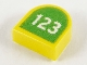 Part No: 24246pb008  Name: Tile, Modified 1 x 1 Half Circle Extended (Stadium) with White '123' on Lime Background Pattern