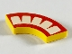 Part No: 27925pb002  Name: Tile, Round Corner 2 x 2 Macaroni with Red Mouth with 5 White Teeth Pattern
