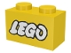 Part No: 3004p50  Name: Brick 1 x 2 with Lego Logo Open O Style White with Black Outline Pattern