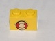 Part No: 3004pb117  Name: Brick 1 x 2 with Life Preserver Pattern (Sticker) - Set 369
