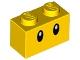 Part No: 3004pb215  Name: Brick 1 x 2 with Black Eyes Pattern (Wiggler)