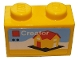 Part No: 3004pb221  Name: Brick 1 x 2 with White 'Creator', Yellow House with Red Roof and Door on Black Baseplate Pattern (Sticker) - Set 40305