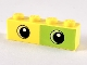 Part No: 3010pb267  Name: Brick 1 x 4 with Lime Rectangle Half and Two Eyes Pattern