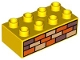 Part No: 3011pb002  Name: Duplo, Brick 2 x 4 with Orange, Sand Red, and Tan Bricks Pattern