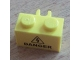 Part No: 30237bpb01  Name: Brick, Modified 1 x 2 with Vertical Clip (open O clip) with Electricity Danger Sign Pattern (Sticker) - Set 8424