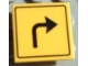 Part No: 30258pb005  Name: Road Sign Clip-on 2 x 2 Square with Arrow Right Turn Pattern