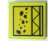 Part No: 30258pb014  Name: Road Sign Clip-on 2 x 2 Square with Falling Rocks and Girder Pattern (Sticker) - Set 7243