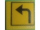 Part No: 30258pb031  Name: Road Sign Clip-on 2 x 2 Square with Arrow Left Turn Pattern (Sticker) - Set 7243