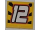 Part No: 3068bpb0472  Name: Tile 2 x 2 with Groove with White '12' on Striped Black and Yellow Background Pattern (Sticker) - Set 8228