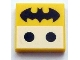 Part No: 3068bpb0816  Name: Tile 2 x 2 with Groove with 2 Black Dots and Batman Logo Pattern