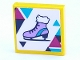 Part No: 3068bpb1306  Name: Tile 2 x 2 with Groove with Ice Skate with Dark Blue, Magenta and Medium Azure Triangles Pattern (Sticker) - Set 41322