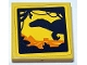 Part No: 3068bpb1492  Name: Tile 2 x 2 with Groove with Dinosaur Shadow Play in Front of Landscape on Yellow Background Pattern (Sticker) - Set 75934
