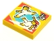 Part No: 3068bpb1632  Name: Tile 2 x 2 with Groove with BeatBit Album Cover - Two Minifigures Dancing Capoeira Pattern