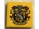 Part No: 3068bpb1682  Name: Tile 2 x 2 with Groove with HP 'HUFFLEPUFF' House Crest with Red Plumes on Yellow Background Pattern (Sticker) - Set 75956