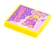 Part No: 3068bpb1766  Name: Tile 2 x 2 with Groove with BeatBit Album Cover - Girl with Coral Hair and Heart Hands Pattern