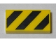 Part No: 3069bpb0436  Name: Tile 1 x 2 with Groove with Black and Yellow Danger Stripes Pattern