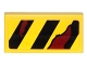 Part No: 3069bpb0526L  Name: Tile 1 x 2 with Groove with Black Danger Stripes and Dark Red Rips Pattern Model Left Side (Sticker) - Set 70592
